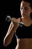 Fotografia Black fitness woman young sport weights exercise