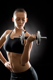 Photo Fitness woman young sport weights exercise