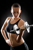 Black fitness woman young sport weights exercise
