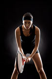 Fotografie Tennis woman black ready to play racket