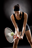 Fotografie Black tennis woman hit ball with racket
