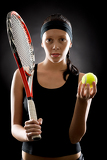 Fotografie Tennis woman sport hold racket ball black