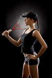 Fotografie Attractive tennis woman player hold racket