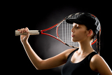Photo Sport tennis woman posing with racket