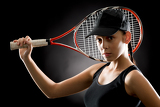 Photo Tennis woman sport hold racket on black