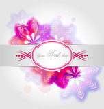 Fotografia Creative design of abstract flower background with colored elements, ribbon and vintage text box