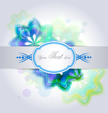 Creative design of abstract background with colored elements, ribbon and text box