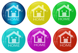 Photo Home web button colored set