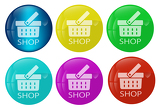 Fotografie Shop web button colored set