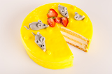 Yellow cheesecake lemon dessert marzipan mouse