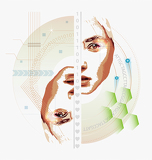 Two faces of life abstract vector artwork