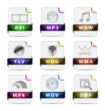 Presentation multimedia file type icon collection