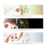 High-tech style illustrated banner set