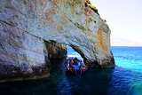 Blue Grotto. Ionian sea and the boat. Zakynthos Island - Greece.