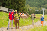 Hiker couples following path on mountain