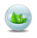 Water ball with stylized green leaves