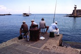 Fotografia Summer, harbor and fishing. Rhodes Town. Rhodes Island - Greece.