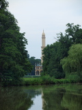 look across the pond to the historic minaret. South Moravia