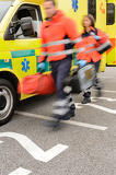 Fotografie Rushing blurry paramedic unit portable devices truck