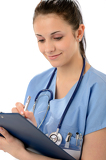 Smiling woman doctor writing on clipboard