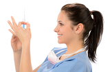 Woman nurse with syringe in blue uniform