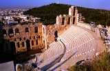 Summer. City of Athens. Acropolis, Odeion Theater Herod Attica. Greece.
