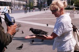 Athens. Syntagma Square, photographer, wife and birds. Greece.