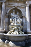 Town. Statues and fountain Albertina. Vienna - Austria.