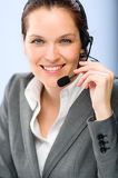 Fotografie Portrait of female customer service operator