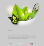 Fotografie Fresh leaves vector background