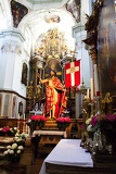 Town. The church, baroque, altar and statue. Salzburg - Austria.