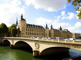 Town. Palace Embankment and bridge. Paris - France.