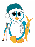 Photo cartoon winter penguin