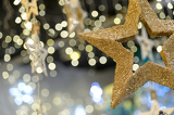 Photo Star Christmas ornament on blurred background