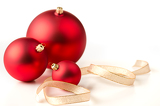 Photo Red Christmas baubles & gold ribbons