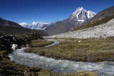 glacial river in the khumbu valley in the himalayas nepal