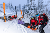 Ski patrol team rescue woman broken leg
