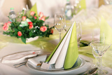 festive table setting for wedding valentine or other event  empty place cards on the white festive table