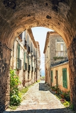 beautiful old street in tuscany italy