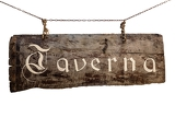 Fotografie the inscription on the old wooden sign taverna hanging on chains