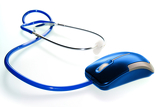 Fényképek technology and medicine  stethoscope and of mouse lying on white background