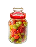 different colors of confectionary in the glass on white background
