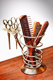 a set of combs and scissors hairdresser