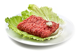 close up raw ground beef