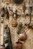 market with antiquities in main square of san quirico di orcia  tuscany