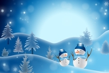 a christmas themed snow scene showing snowman