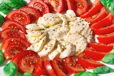 mozzarella with basil and tomatoes with olive oil