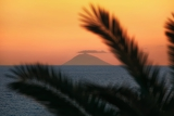 beautiful view of the active volcano stromboli in italy