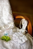 wedding dress garter and shoes