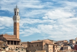 view of the historical part of the city of siena in tuscany  italy